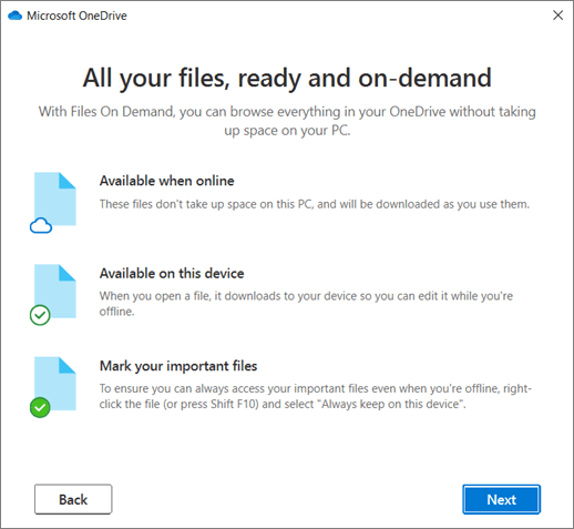 The Files on Demand screen in the Welcome to OneDrive wizard