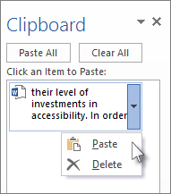 Paste a single item from the Clipboard