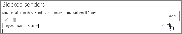 Blocking a sender in Outlook Web App