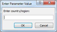 "A parameter prompt with the text ""Enter country/region""."
