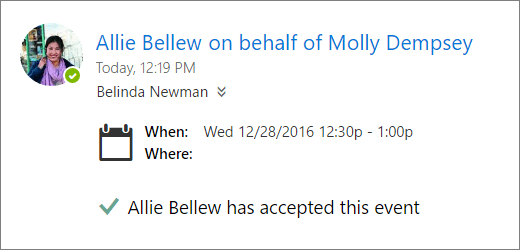 A screenshot of a meeting invitation accepted by a delegate.