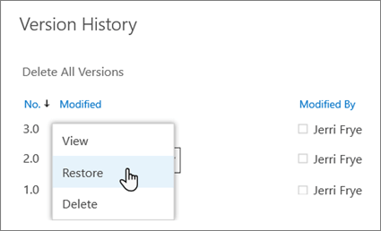 Restore a previous version of a file in OneDrive - Office