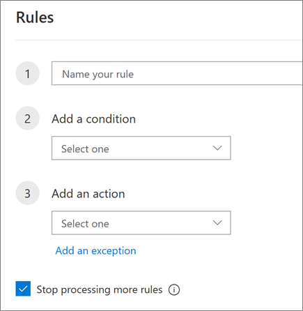 Create a new rule in Outlook on the web