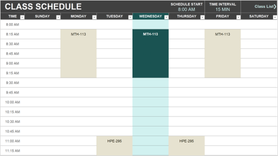 Image of a class schedule template