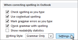 Spelling and grammar Settings button in Outlook