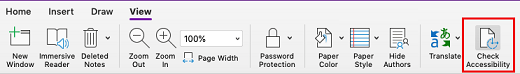 OneNote for Mac Check Accessibility tool
