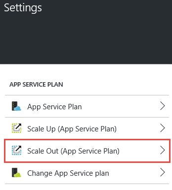 web app settings scale up plan