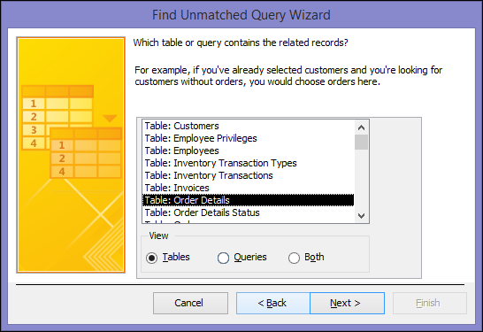 Select a table or query that contains the related records in the Find Unmatched Query Wizard dialog box