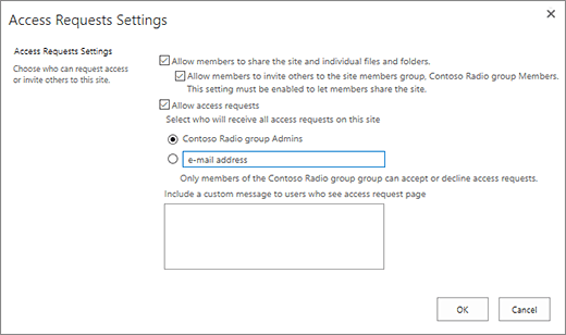 Set up and manage access requests sharepoint screenshot of access requests dialog box stopboris Image collections