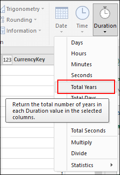 Pwer Query - Convert Duration values to Years