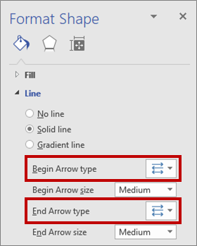 Settings for reversing arrows