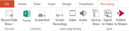 Shows the Recording tab on the ribbon in PowerPoint 2016