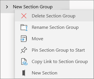 Delete section groups in OneNote for Windows 10 app