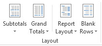 Layout options in the Layout group on the Design tab