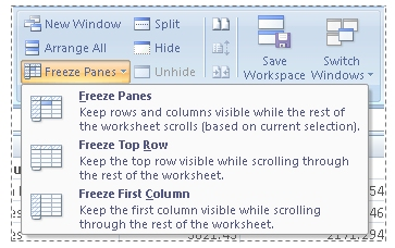 Freeze Panes options