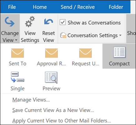 Create, change, or customize a view - Outlook
