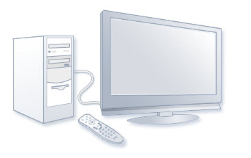 A PC connected to a TV and a Windows Media Center remote