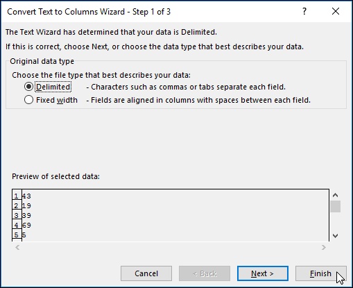 Image of Data > Text to Columns dialog