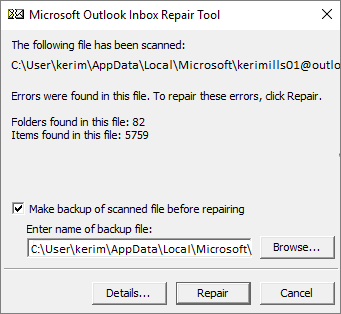 Shows results of scanned Outlook .pst data file using the Microsoft Inbox Repair tool, SCANPST.EXE
