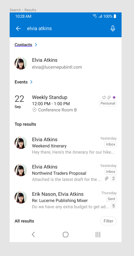 Outlook showing results of people search.