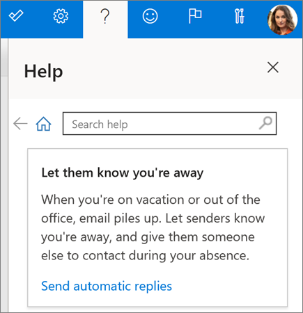 Help pane in Outlook on the web