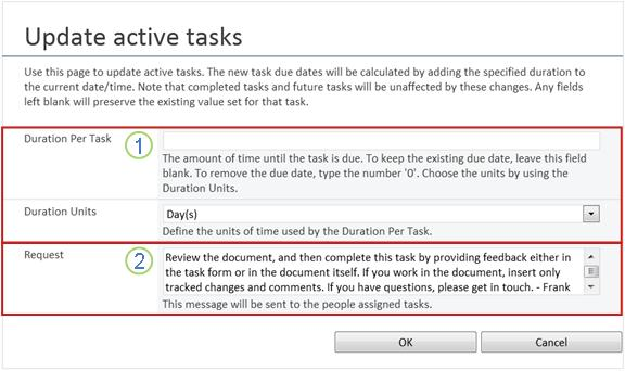 Change form for active tasks