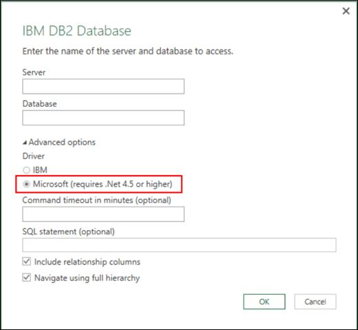 Excel Power BI IBM DB2 Database connector dialog