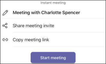 Teams mobile meet now invite screenshot