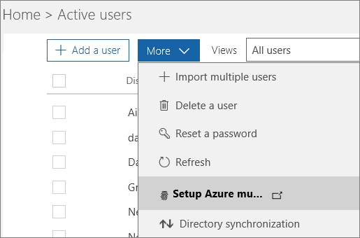 The More menu on the Active Users page, with Setup Azure multi-factor auth selected.