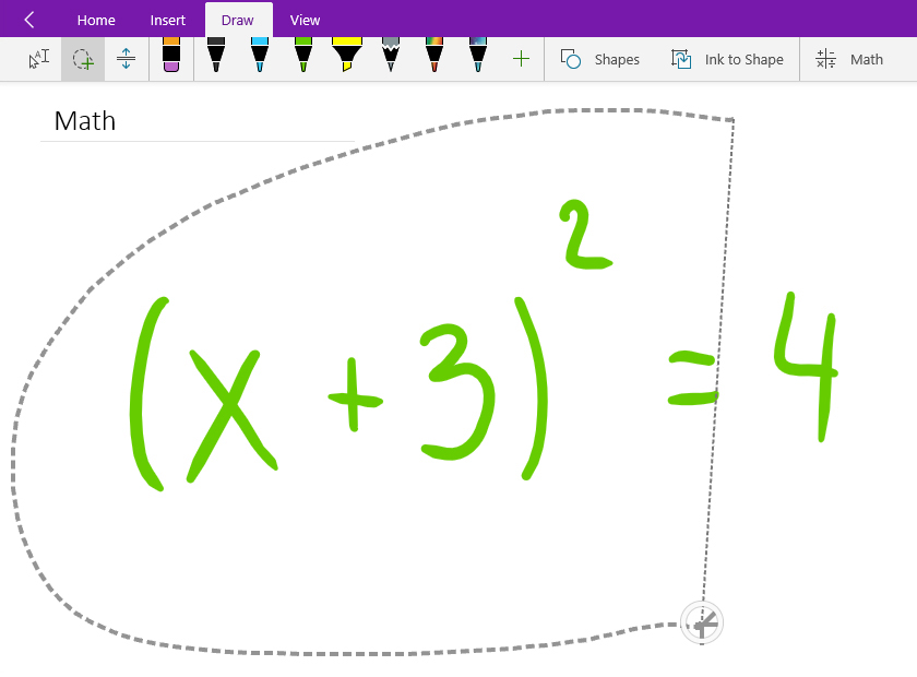 Lasso-selecting a handwritten math equation