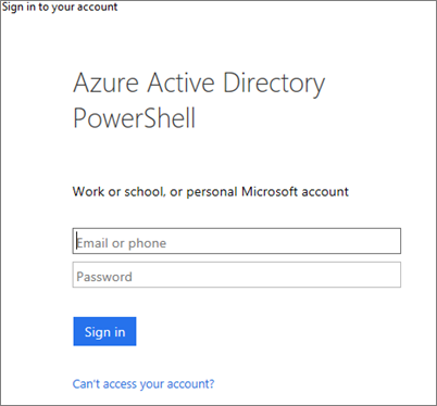 Enter your Azure Active Directory admin credentials