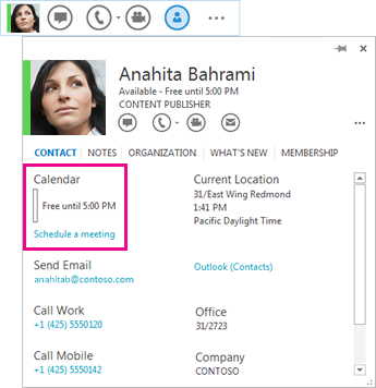 Screenshot of contact QuickLync and contact card with calendar and schedule a meeting highlighted