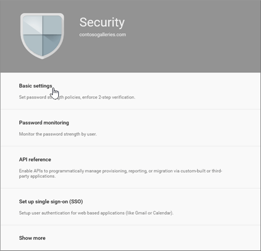 On the Security page choose Basic settings