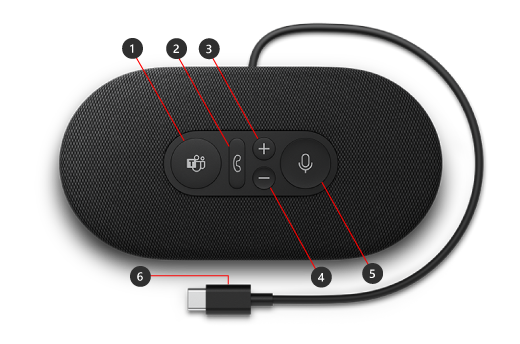 Buttons on Microsoft Modern USB-C Speaker