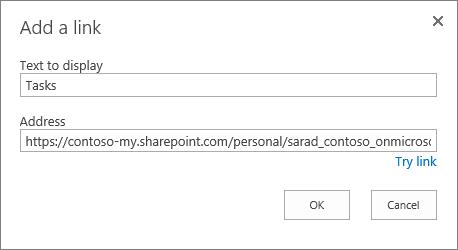 Add a link dialog box