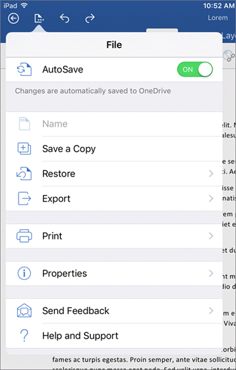 The file button on Word for iOS lets you print, save, send feedback and more.