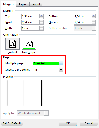 On the Margins tab under Pages, change the setting for Multiple pages: into Book fold. Orientation changes to Landscape.