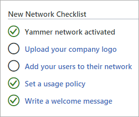 Checklist with basic tasks for setting up a Yammer network