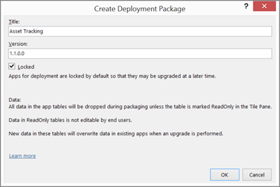 Create Deployment Package dialog box