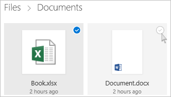 Screenshot of selecting a file in OneDrive in tile view