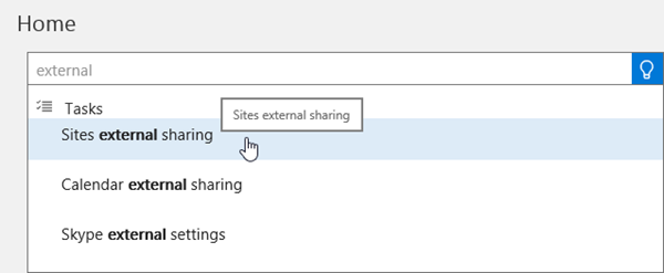 Screenshot of typing external sharing in the Search box on the Admin Center Home page
