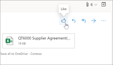 Liking an email message in Outlook on the web