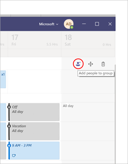 Adding a person to a group in Microsoft Teams Shifts