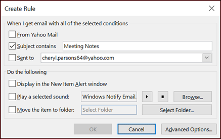 Manage email messages by using rules - Outlook