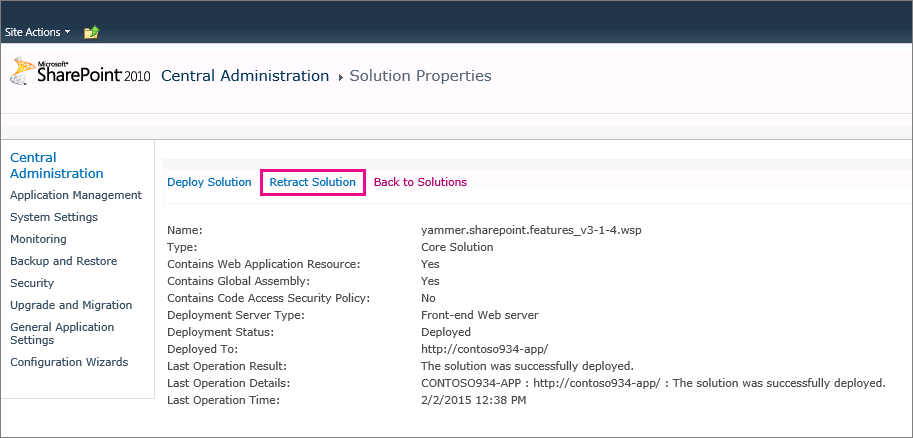 Yammer solution properties