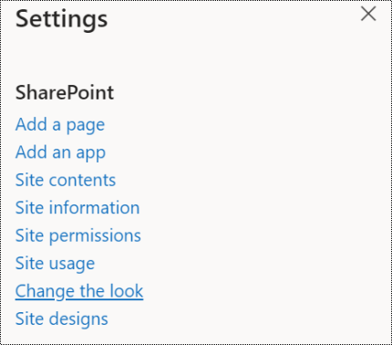 Screenshot showing the SharePoint Change the look menu option.