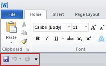 Quick Access Toolbar below the Ribbon