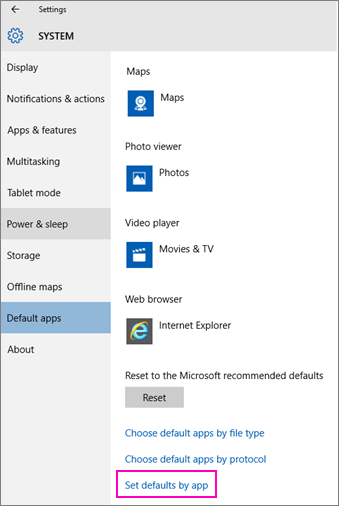 Screenshot of the Set Defaults by App setting in Windows 10.