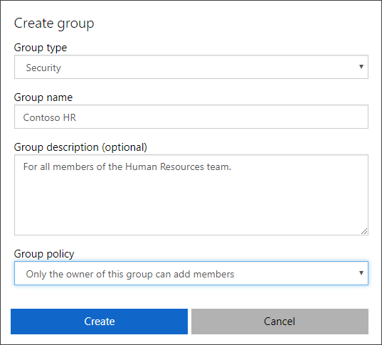 Create group page