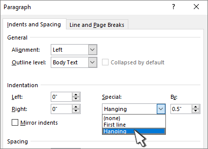 Selecting Hanging indent